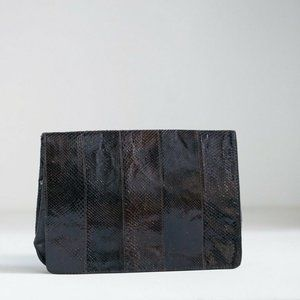 Dark Brown Large Snakeskin Patchwork Clutch | Enve
